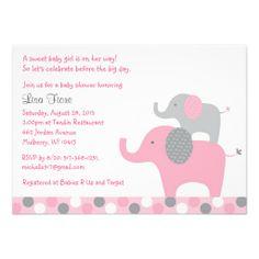 Mod Pink Grey Elephant Baby Shower Invitations