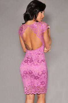 Orchid Lace Key-Hole Back Knee Length Dress Club Dresses, Sexy Dresses, Short Dresses, Lace Dresses, Clubwear Dresses, Hot Miami Styles, Miami Fashion, Black Bodycon Dress, Sexy Women