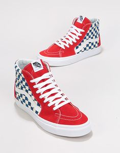 959ade8aa24 Vans Sk8-Hi Skate Shoes - (BMX Checkerboard) True Blue Red