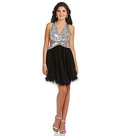 Blondie Nites Sequin Cut Out Party Dress #Dillards
