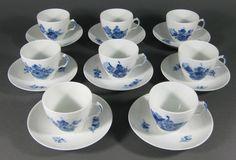 Vtg+Set+8+Royal+Copenhagen+BLUE+FLOWERS+BRAIDED+Flat+Coffee+Tea+Cup+&+Saucer+#9+#RoyalCopenhagen