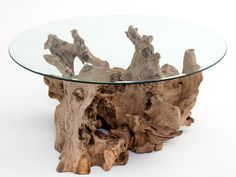 Natural Furniture - Driftwood Coffee Table - Glass Shown with Smooth Edge - Item #CT03105 - Custom Sizes - Glass Available with Barked Edge - Matching End Tables Available - Reclaimed Wood
