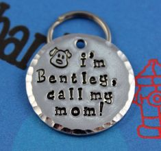 Handstamped Aluminum Pet ID Tag - Personalized Unique Dog Name Tag - Customized - Other Metals Available