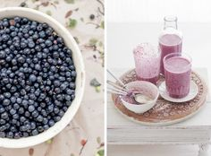 Blueberry Milkshake:  1 l yoghurt or sourmilk 5 dl cold water (or as much as it takes to reach a preferred consistency) 6 dl blueberries 2-3 dl raw sugar (adjust the amount to your liking) A pinch of vanilla powder