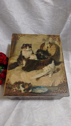 Caixa Multiuso em MDF com decoração vintage de animais