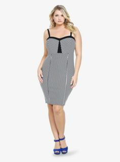 Striped Bodycon Dress. So cute! I hate it when it doesn't look right when you try it on. BOOO...  :( #Torrid