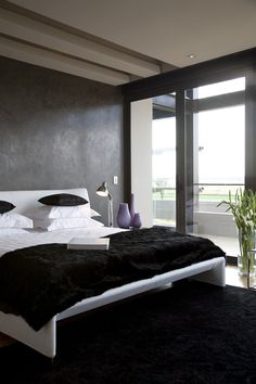House Serengeti | Main Bedroom |  Nico van der Meulen Architects #Bedroom #Black #Contemporary