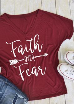 """Faith Over Fear Arrow T-Shirt - Bellelily. """"Make your own kind of music"""" Home T Shirts, Vinyl Shirts, T Shirts With Sayings, Cute Shirts, Women's T Shirts, Funny Shirts, Arrow T Shirt, Christian Shirts, Diy Shirt"""