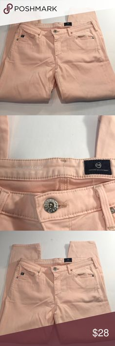 """AG Adriano Goldschmied The Prima Crop Pink Soft 28 These are women's AG Adriano Goldschmied The Prima Crop jeans. They are light pink and have some stretch to them. They are in excellent condition! Please see all photos as they tell the whole story. Message me with any questions you have. Thank you for looking and supporting my small business! Checkout my store for more quality brands and items, new inventory is added daily.  Measurements:  Waist: approx 14"""" Inseam: 24.5"""" Leg Opening: 5.5""""…"""