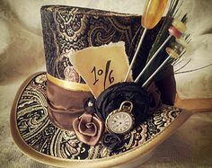 Mad Hatter Alice in Wonderland Steampunk Hat Mini Top Hat by OohLaLaBoudoir   Etsy