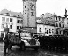 Soldiers of the Waffen SS and the 5th Field Company of the Hlinka Guard in Banská Bystrica after the suppression of so called SNP, Slovakia, 1944.