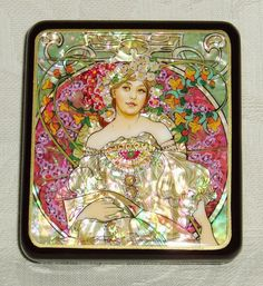 """Beautiful Hand Painted Russian Lacquer box mother of pearl miniature """" Reverie """" by A.Mucha  ~ Art Nouveau"""