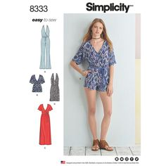 Simplicity 8333 Misses Knit Jumpsuit and Dress Sewing Pattern Size or Uncut, FF Dress Patterns Uk, Summer Dress Patterns, Simplicity Sewing Patterns, Burda Patterns, Clothes Patterns, Romper Pattern, Jumpsuit Pattern, Sew Pattern, Pattern Ideas