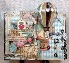 Altered Book/Clock.  I altered an old book to house a working clock. Used Marion Smith Mad Tea Party paper collection to give this project a whimsical feeling!