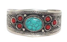 Turquoise Bracelet Boho Bracelet Gypsy Bracelet Tribal Bracelet Adjustable Cuff Bracelet BB167