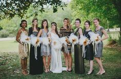 1920s-Themed Bridesmaid Dresses With Vintage White Feather Plume Bouquets