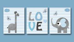 Giraffe Nursery Elephant Nursery Baby Boy Nursery decor Children Art Print Baby Nursery Print Boy Art set of 3 8x10 love nursery blue gray