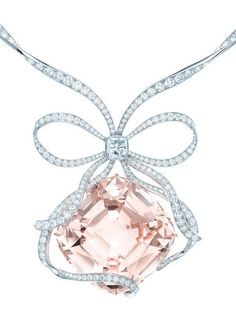 The Tiffany Anniversary Morganite necklace. Defining how to tie a bow.