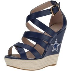 Dallas Cowboys Cuce Shoes Women's Wedge Espadrille - Navy