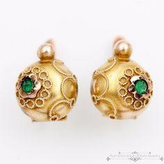 Antique Vintage C 1860 Victorian 18K Gold Etruscan Rose Cut Emerald Earrings   eBay