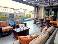 Eclectic Outdoor Dining with Modern Table and Seat