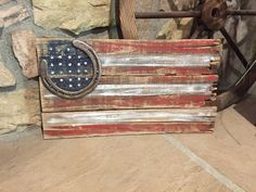 Rustic American flag made out of old pallet wood by ShesCrafty711 Horseshoe Crafts, Horseshoe Art, Cowboy Crafts, Repurposed, Crafty, Decorative Boxes, Diy Crafts, Horse Shoes, Diy Craft Projects