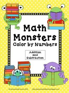 These Math Monster were inspired by my daughter when she was in first grade. All four color by numbers worksheets are Common Core aligned for first and second grade (1.OA.6 and 2.OA.2)The first two sheets (one addition/one subtraction) contain combinations of 10 and under.