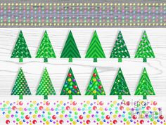 Christmas trees clip art set of 12 images, festive clipart, plus 2 borders included, commercial use digital elements, instant download