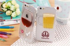 3D Red Wine Beer Dynamic Case Cover Wine Glass Beer Mug iPhone 6 5 ...