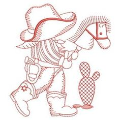 Embroidery Designs Ideas Sweet Heirloom Embroidery Design: Sunbonnet Stick Cowboy inches H x inches W - Embroidery Shop, Embroidery Transfers, Learn Embroidery, Vintage Embroidery, Cross Stitch Embroidery, Machine Embroidery Designs, Hand Embroidery, Geometric Embroidery, Sunbonnet Sue
