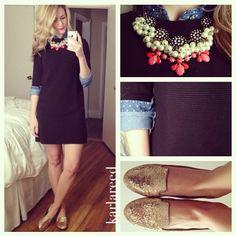 chambray blouse, black dress, gold flats, statement necklace