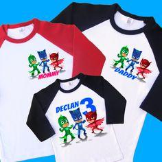 PJ Masks Birthday Family Raglan Shirts Set. Personalized Birthday Shirts. 1st 2nd 3rd 4th 5th 6th Birthday. Catboy, Gekko & Owlette (10285) by UrbanSmartWear on Etsy https://www.etsy.com/listing/270999868/pj-masks-birthday-family-raglan-shirts