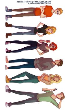 Teen Olympians character chart :DD by -MirelleOrtega Some more character designs for my teen olympians project. From the top: Apollo, Artemis, Athena, Orion, Aphrodite and Hermes. I might do another...