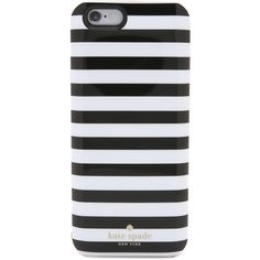 Kate Spade New York Micro Stripe iPhone 6 Charging Case ($71) ❤ liked on Polyvore featuring accessories, tech accessories, phone cases, phone, cases, tech, micro stripe, kate spade iphone case, apple iphone headphones and iphone headphones