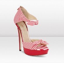 Red gingham shoes - perfect for a picnic themed wedding, especially if you use red gingham tablecloths for the reception decor