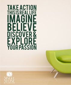 Wall Decal Quote Take Action - Single Stone Studios, on Etsy.