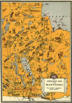 "In the 1920s, the Canadian Department of the Interior eagerly publicized Canada in an effort to attract tourists. One way to accomplish this was to prepare ""animated"" #maps of the various provinces, distributed in the form of an ""atlas"". By Manitoba Historical Maps"