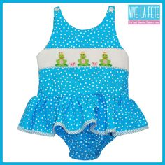Frogs Smocked One Piece Swimsuit!