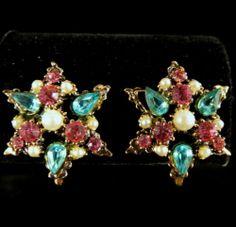Hollycraft Style Earrings Vintage Gold Tone Blue Pink Rhinestone Faux Pearl | eBay
