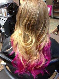 Blonde ombré to hot pink dip dye ends. I used Paul Mitchell Inkworks in hot pink and clear, processed 30 minutes no heat.