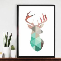 10types Customized Nordic Decoration colorful animal Deer Horn Head Silhouette Art Wall Poster Canvas Painting Print Home Decor