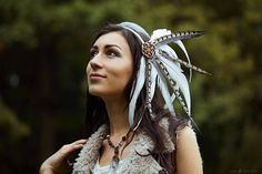 This item is unavailable Boho Headpiece, Wedding Headdress, Feather Headdress, Festivals, Feather Crown, Tribal Warrior, Pheasant Feathers, Feathered Hairstyles, Flower Of Life