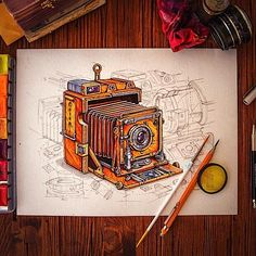 Beautiful Artworks on Instagram by Creative Mints, Camera, Vintage, Watercolor, brush, pencil