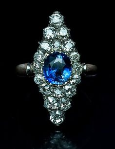 Antique Russian Diamond and Sapphire Marquise Ring ...AMAZING!!