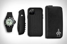 Everyday Carry: Bellhop    * Vague Diver's Son Watch   * Swiza Swiss Pocket Knife   * Rimowa Leather Black iPhone Case   * Prada Zip Around Wallet