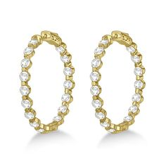 Stylish yellow gold diamond hoop earrings come with vivid white round cut diamonds that are prong set in an unique inside outside pattern. Shop for sparkly gold diamond earrings. Gold Diamond Earrings, Diamonds And Gold, Round Cut Diamond, Types Of Metal, Jewelry Ideas, Fashion Jewelry, Jewels, Sterling Silver, Medium