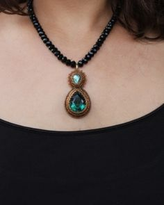 Labradorite & Green Quartz Pendant Necklace