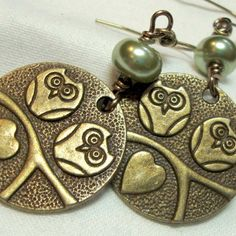 Owl Earrings Antique Brass and Sage Green Pearl by boomerville, $12.00