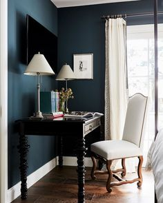 The color is Caspian in flat by - Cecy J Interiors ( Next At Home, Office Desk, Paint Colors, Sweet Home, Vanity, Interiors, Flat, Cocktail Recipes, Videos