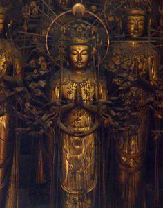 statues of the bodhisattva kannon (guanyin), sanjūsangen-dō, kyoto, japan #buddhist